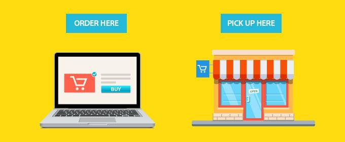 laptop e negozio fisico su sfondo giallo