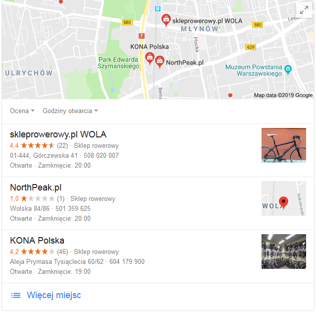 Profil sklepu w Google Moja Firma