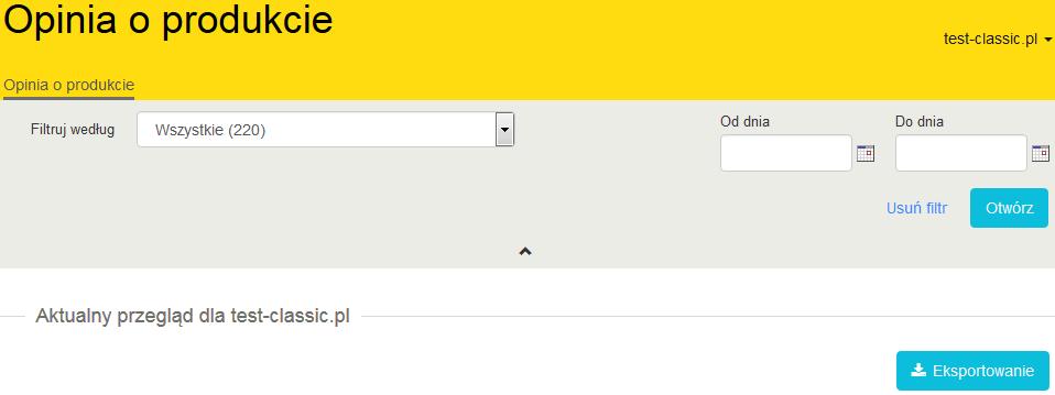 """b674983f0df579 Teraz dajemy taką możliwość. Na stronie konta My Trusted Shops umieściliśmy  przycisk """"Eksportuj"""" w górnej części listy opinii o sklepie lub produktach."""