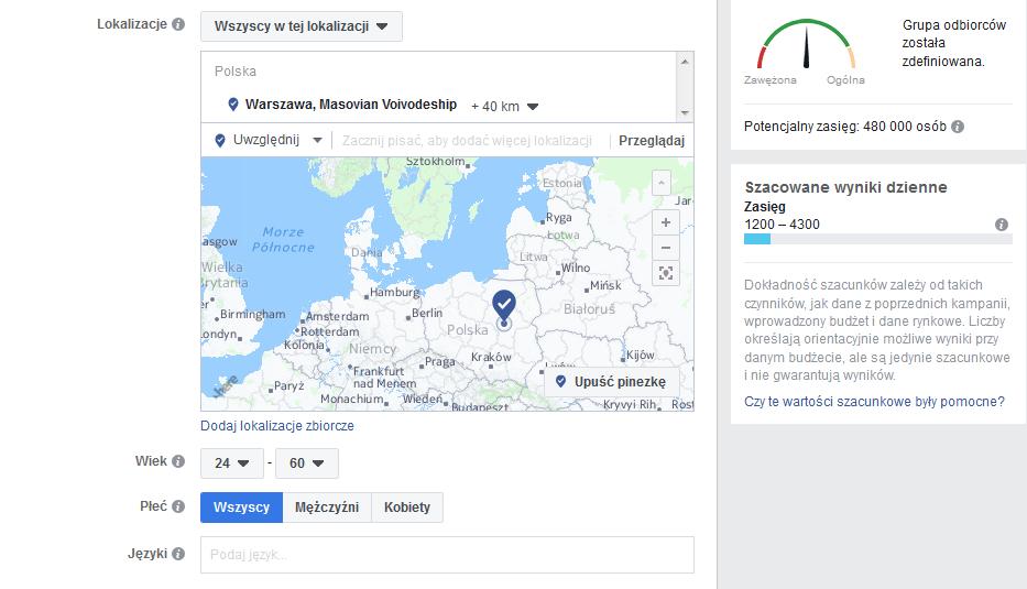 Targetowanie reklamy na Facebooku: Geograficzne