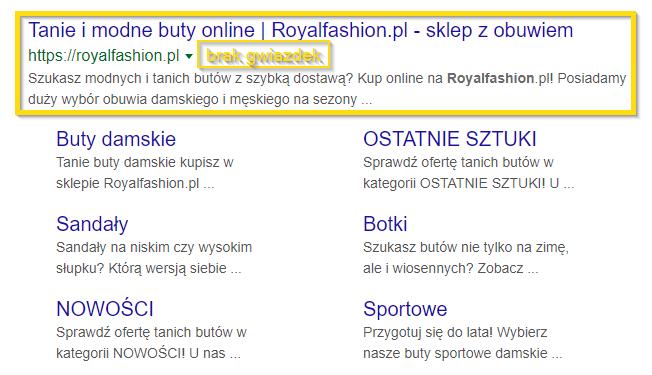 Brak gwiazdek Google w wynikach wyszukiwania przy pozycji z linkiem do sklepu