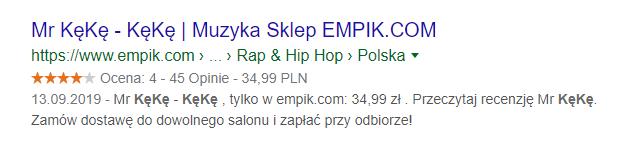 Gwiazdki Google wyświetlone dla wyniku wyszukiwania płyty Mr Kękę - Kękę