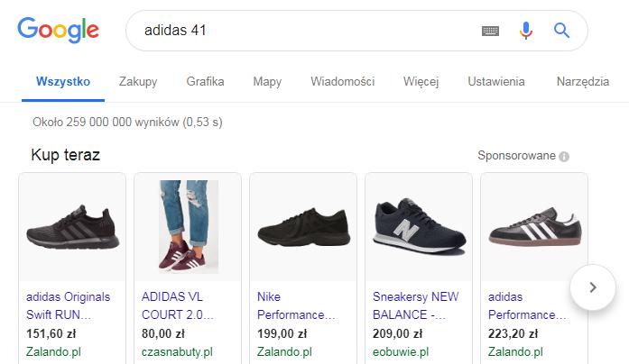 Wyniki wyświetlania Zakupów Google