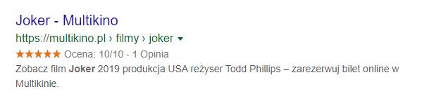 Gwiazdki Google przy wyniku wyszukiwania filmu Joker (Multikino)