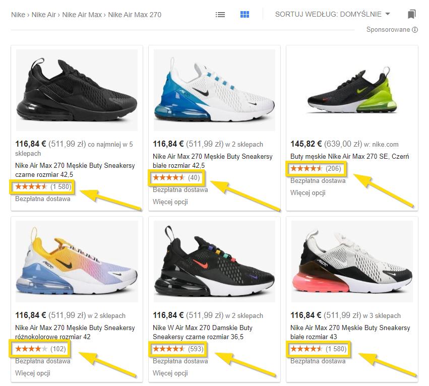 Google wyświetla zgromadzone opinie na swoich stronach - przykład zagregowanych ocen na liście butów Nike Air Max 270
