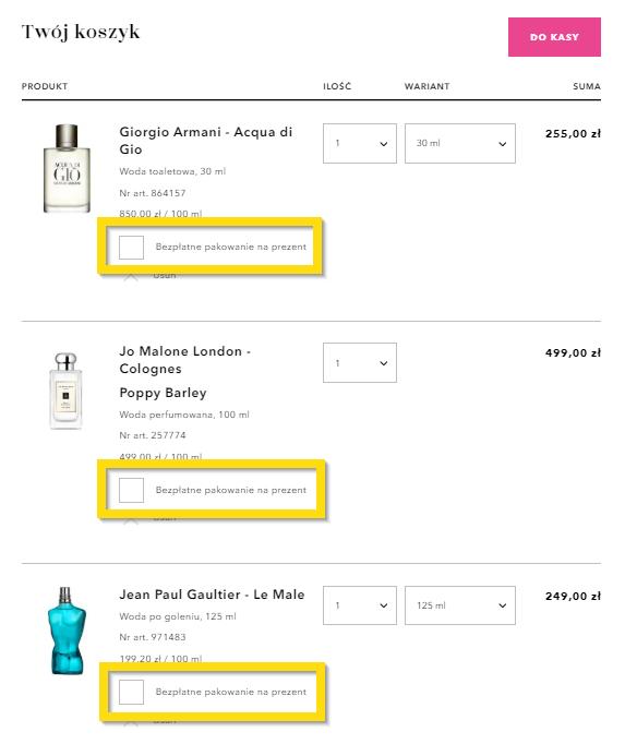 Pakowanie na prezent - każdy produkt z osobna (metoda na zwiększenie wartości koszyka)