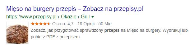 Gwiazdki Google przy przepisie na mięso na burgery