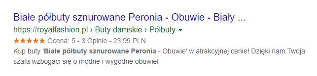Gwiazdki Google wyświetlone dla wyniku wyszukiwania półbutów Peronia