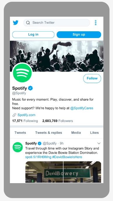 Profil Spotify na Twitterze