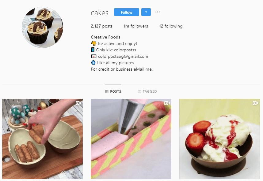 Przykład profilu na Instagramie
