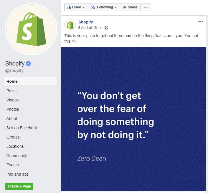 Profil Shopify na Facebooku
