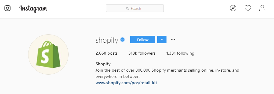 Profil Shopify na Instagramie