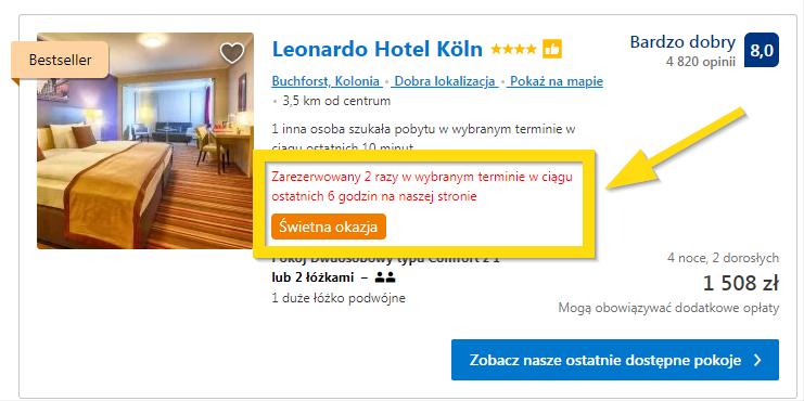 Social proof w Booking.com
