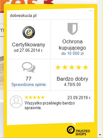 Widżet Trusted Shops w sklepie dobreokucia.pl