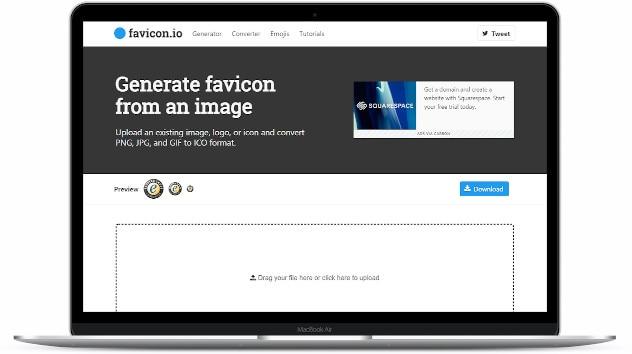 Laptop wyświetlający stronę favicon.io.