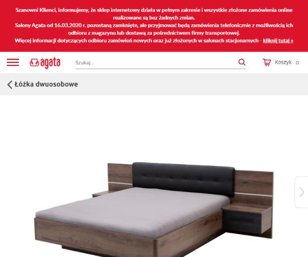 Zrzut ekranu komunikatu na stronie firmy Agata Meble.