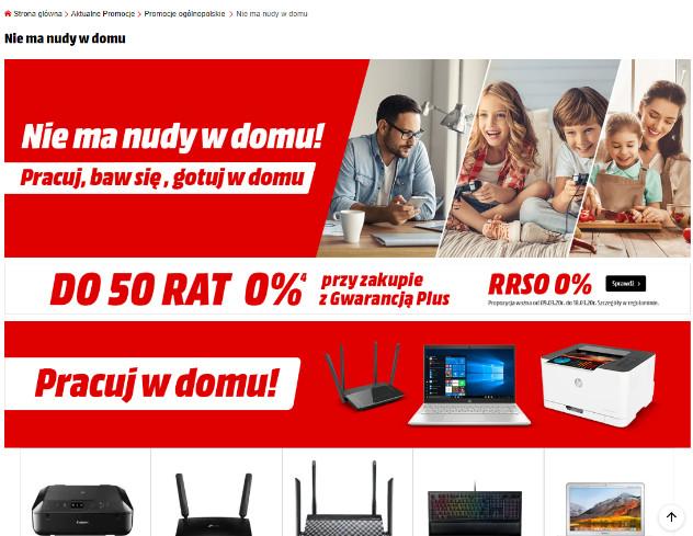 Zrzut ekranu komunikatu na stronie firmy Media Markt.