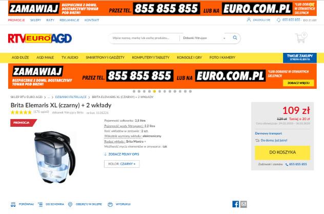 Zrzut ekranu komunikatu na stronie firmy RTV Euro AGD - widok produktu.