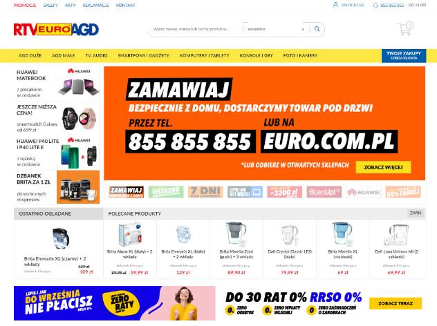 Zrzut ekranu komunikatu na stronie firmy RTV Euro AGD - widok strony głównej.