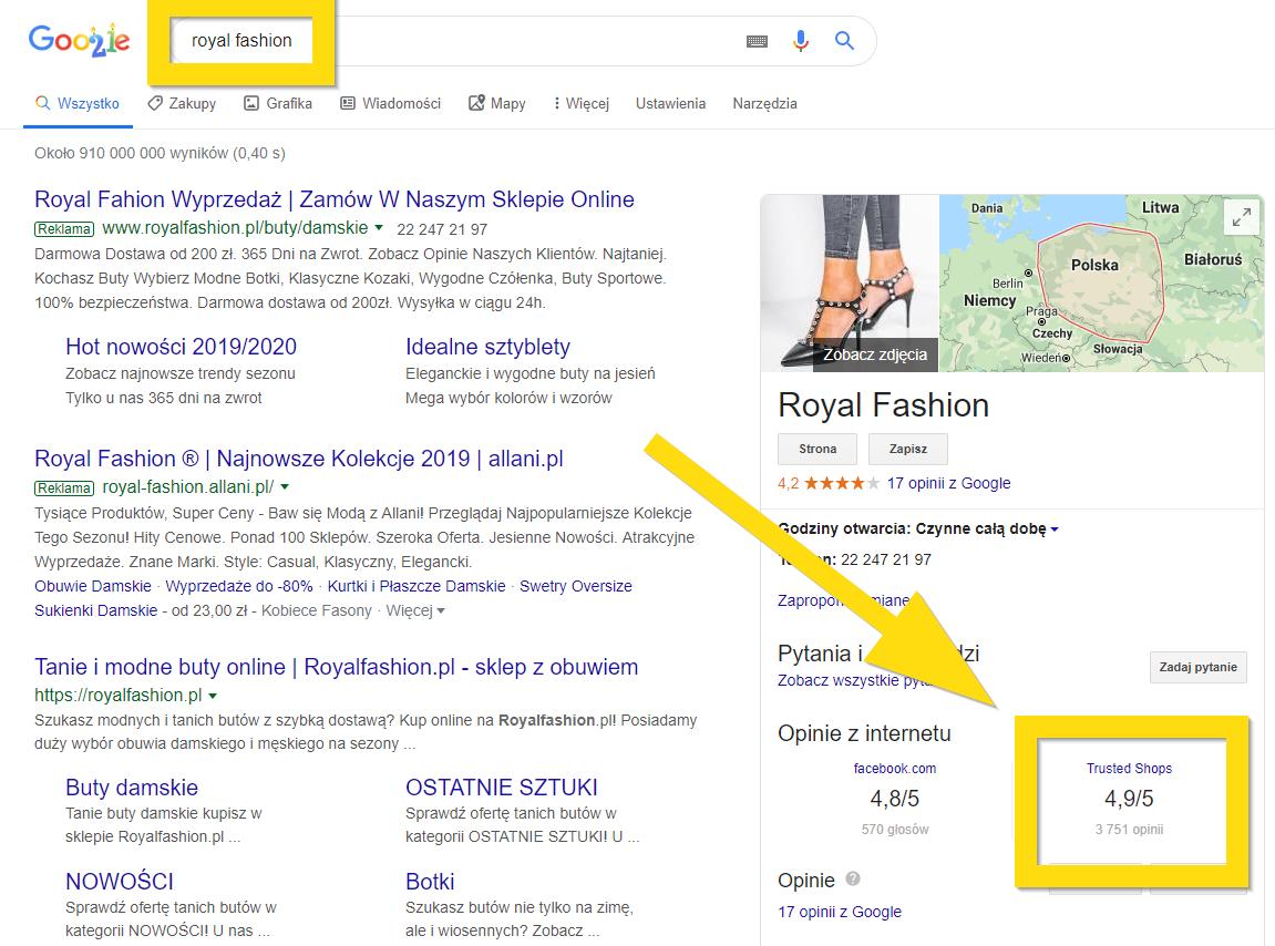 Gwiazdki Google nie są obecne w wynikach wyszukiwania dla sklepu
